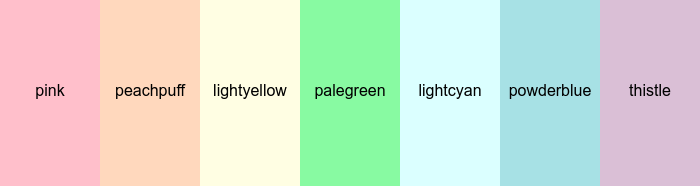 CSS Pastel Color Names