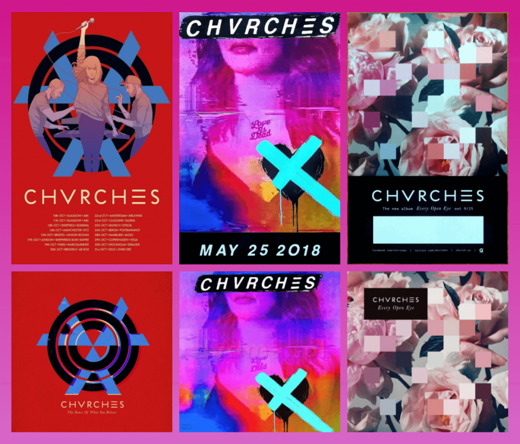 A selection of CHVRCHES Album artwork